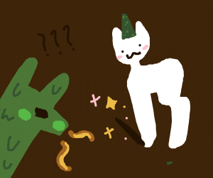 Dragon sees a flying cat wizard appear