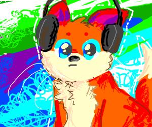 fox with headphones