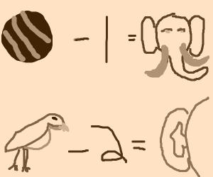 Ball - 1 = Elephant, and Bird - 2 =Ear.