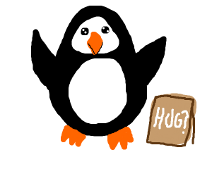 Chubby penguin is giving free hugs