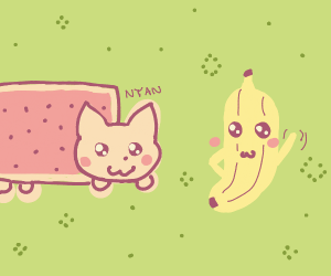 Nyan cat and a banana being cute