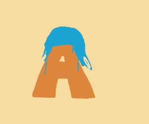 the letter A with blue hair