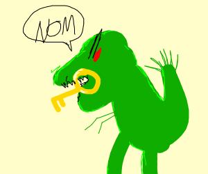Dinosaur having a key for dinner