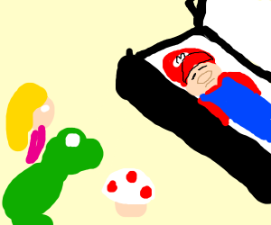 Peach toad and yoshi at mario's Funeral