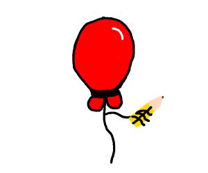 balloon holding pencil
