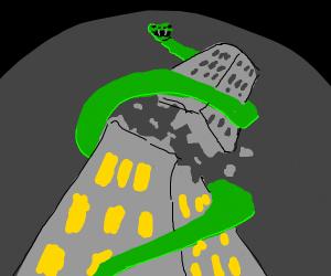Giant snake ripping apart skyscraper
