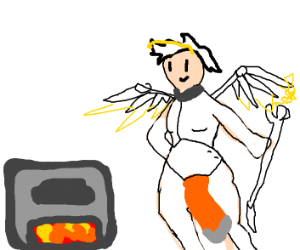 Mercy from Overwatch and minecraft furnace.