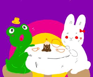 Frog & bunny having a tea party
