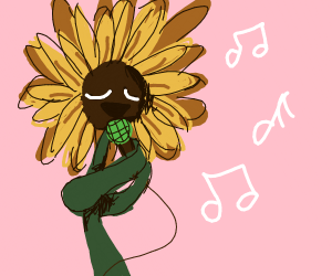 Sunflower singing into a microphone