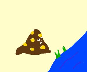 Corny poop contemplating life next to a river