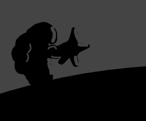 Silhouette Of A Creature Capturing A Star