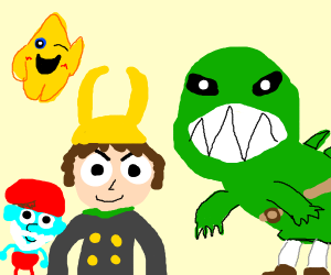 Loki, Papa Smurf, Star, and not Link at fest.