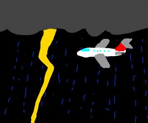 plane in thunderstorm