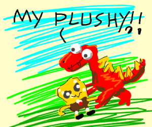 dinosaur steals knock-off Spongebob plush