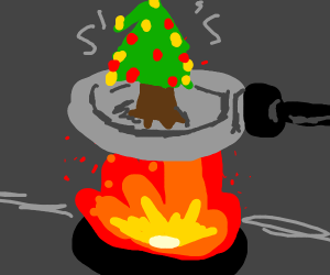 christmas tree gets cooked in a pan over fire