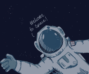 astronaut greets you to space