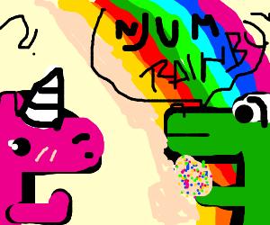 Alligator eats rainbow while unicorn watches