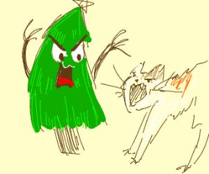 Christmas tree threatening cat