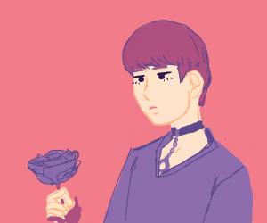 A Beautiful Human Looking At A Rose