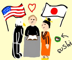 america and japan weding