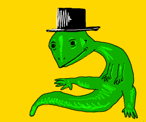 Lizard in a top hat