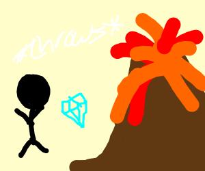Black man throwing a diamond into a volcano