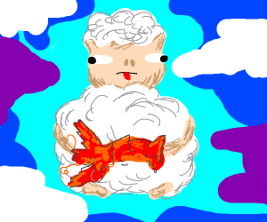 Sheep eating Lobster
