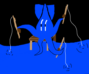 a squid fishing with 3 lines