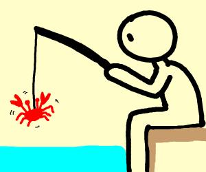 man fishing crab