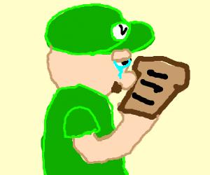 Luigi cries on burned toast