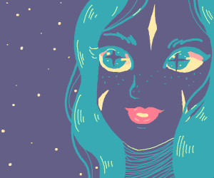 girl with blue hair looks at night sky
