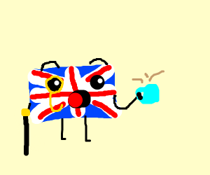 Flag of UK w/ limbs, shocked with tea cup