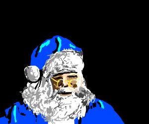 Santa wears blue now.