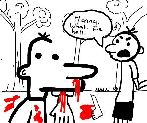 Greg tells Manny off for murdering (DOAWK)