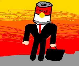 Businessman wearing a soup can as a hat