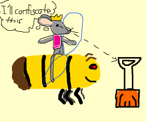 Mouse king rides bee & confiscates a shovel