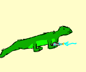 Lizard with a gun