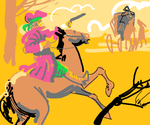 Highwayman wearing a red hat and green bandan
