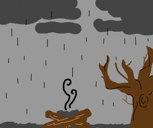 Firepit un the Rain