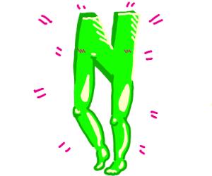 Big Green N with legs looks happy