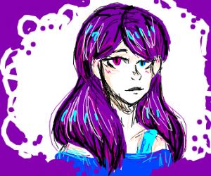heterochromatic purple hair girl