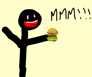 stick figure enjoys burger