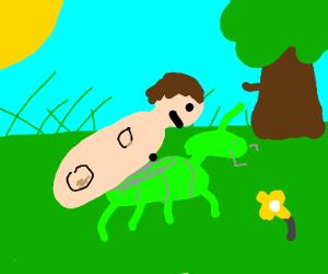 a human w/ no limbs mating w/ a grasshopper