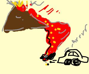 Car escapes volcano