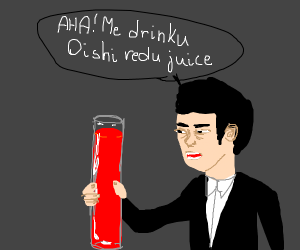 japanese person and a massive red drink