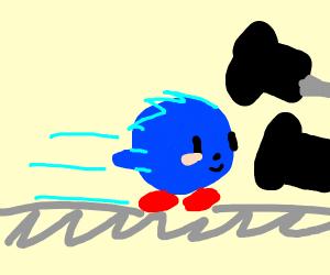 Sonic Kirby morph shooting black tic tacs