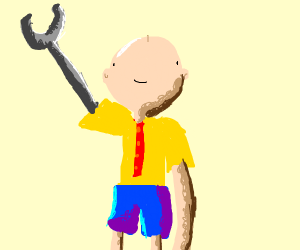 caliou with a robot arm as his right hand