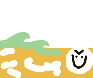 creepy face in the sea-foam on the beach