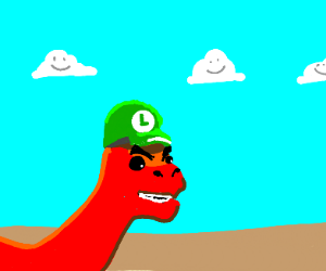 angry dinosaur with luigi hat
