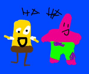 Patrick and SpongeBob laughing